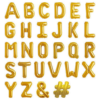 "Gold 16"" Letters and Numbers balloons"