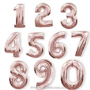 "Giant Rose gold 36"" Number balloons"