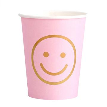 Oh Happy Blush Smiley Face Party Cups