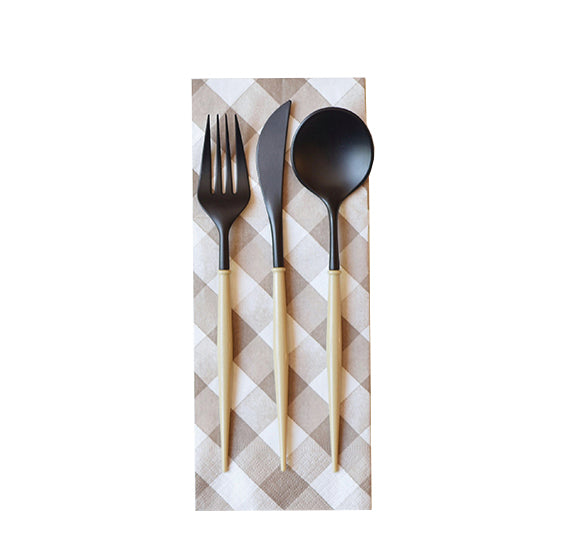 Black and Taupe 24-pack Assorted Plastic Cutlery