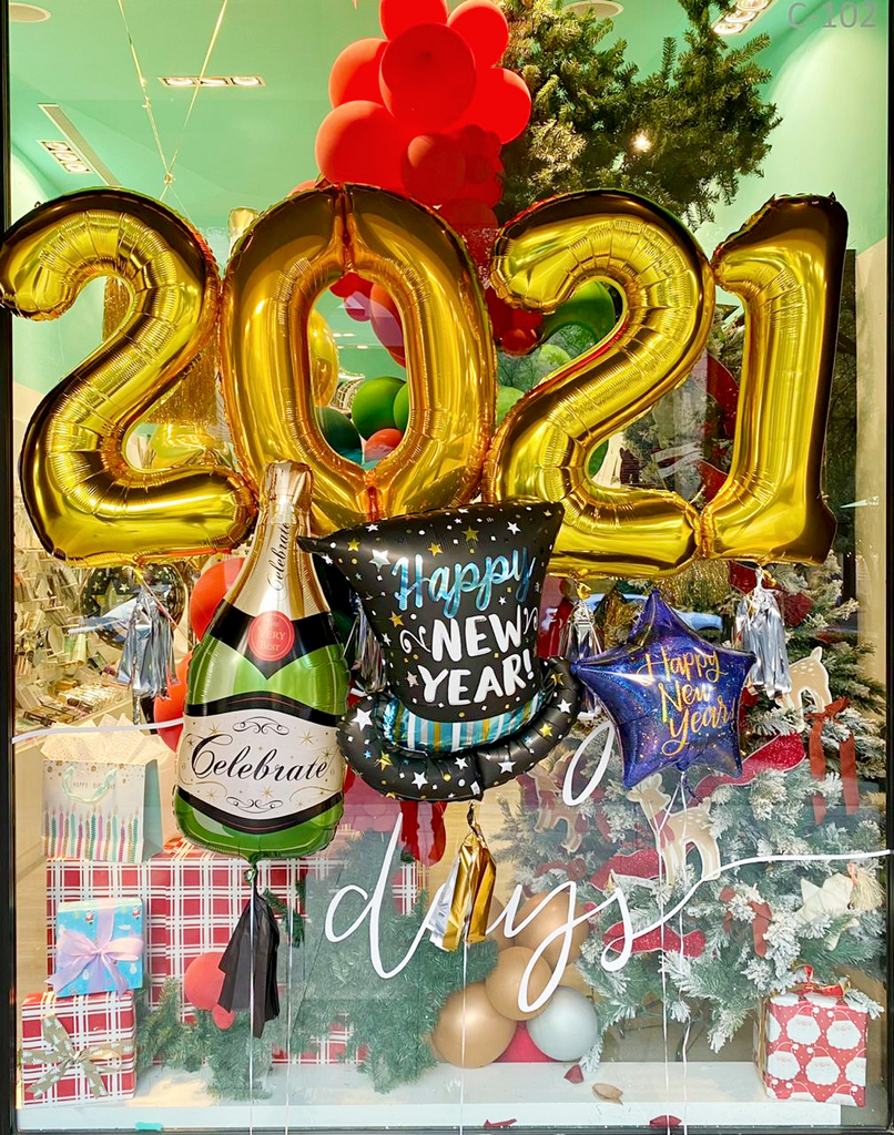 Bouquet 2021 Numeros Gigantes+ Happy New Year Star+ Celebrate Bottle Balloon + Infused Top Hat