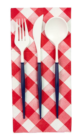 White and Navy Blue 24-pack Assorted Plastic Cutlery