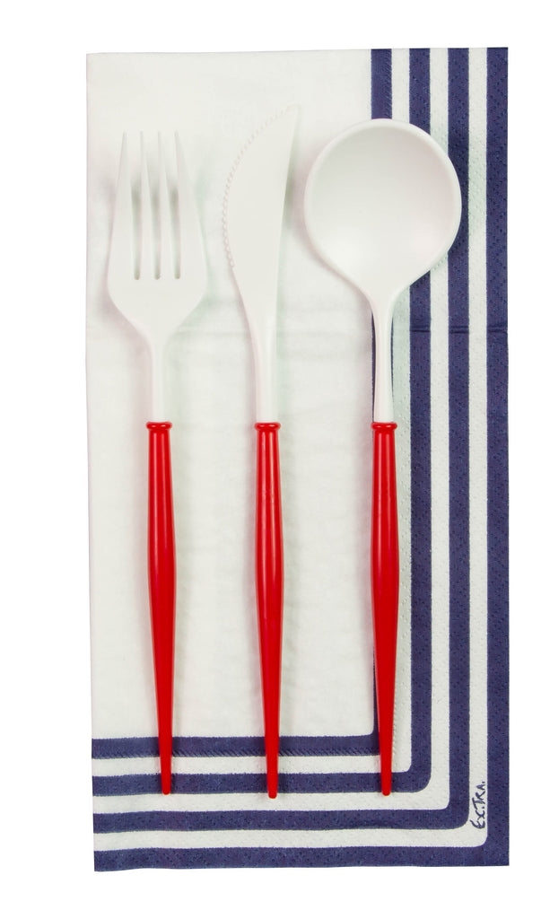 White and Red 24-pack Assorted Plastic Cutlery