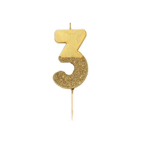 Number Three Gold Glitter Candle