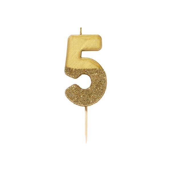 Number Five Gold Glitter Candle