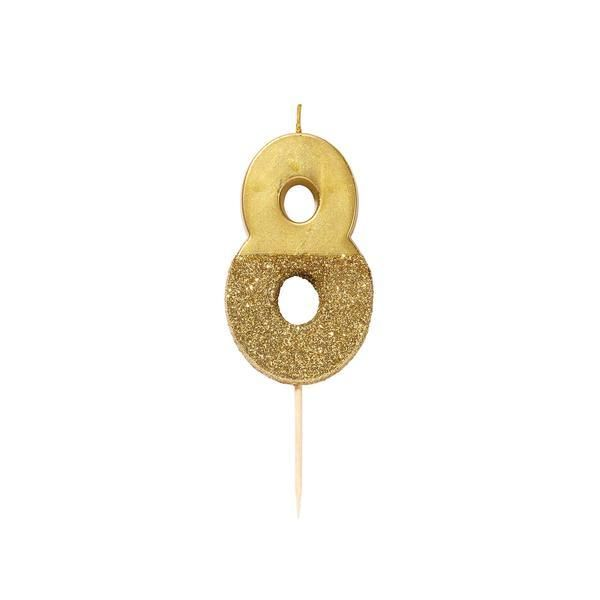 Number Eight Gold Glitter Candle
