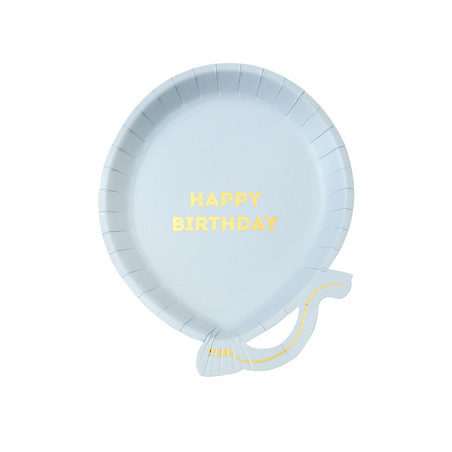 Blue Birthday Balloon Plates