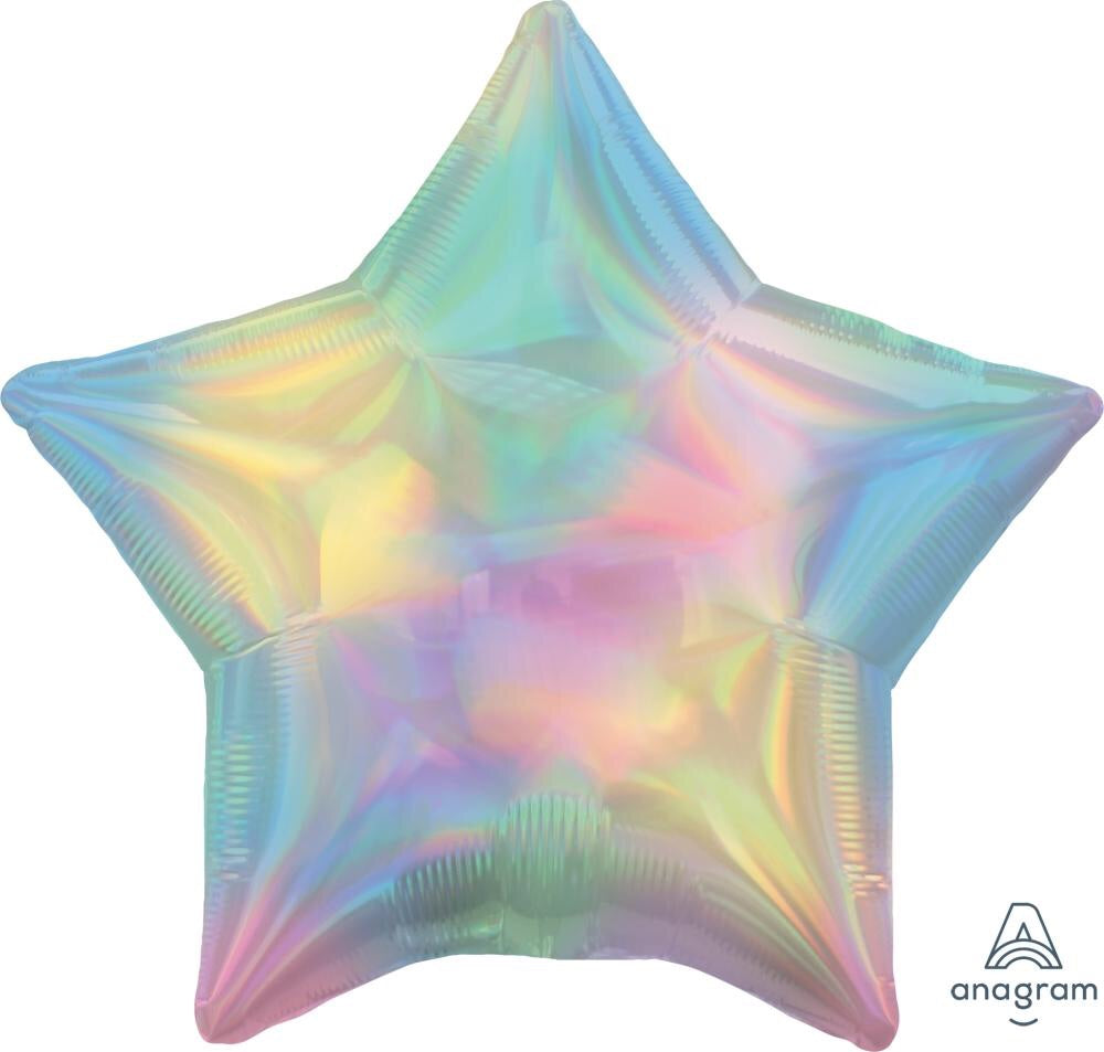 Iridescent Pastel Rainbow Star Balloon 22""