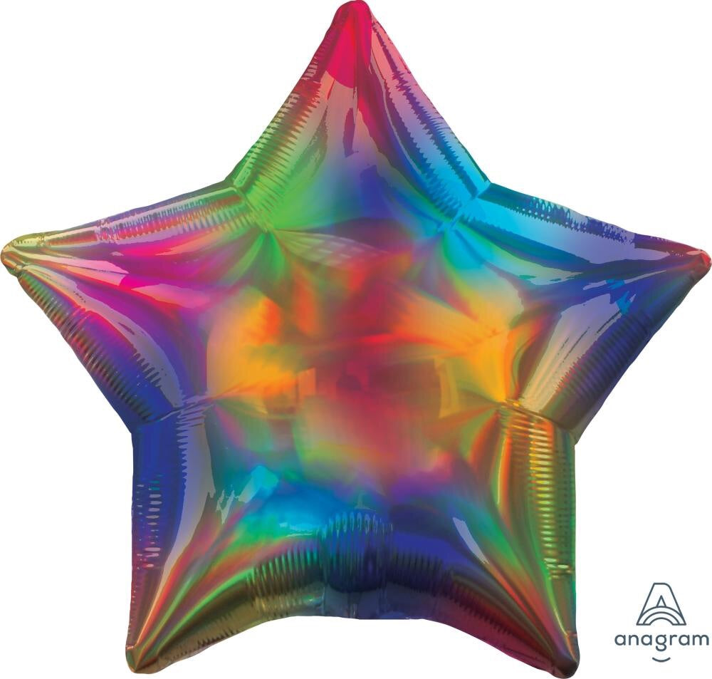 Iridescent Rainbow Star Balloon 22""