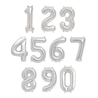 "Silver 16"" Letters and Numbers balloons"