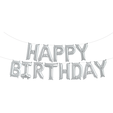 "Silver 16"" HAPPY BIRTHDAY balloon"