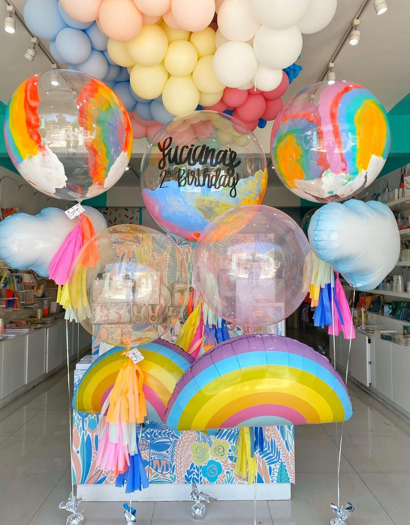 Bouquet Burbuja Gigante Pintada + Burbujas Grandes Rainbow + Puffy Clouds + Radiant Rainbows + Clearz Balloons