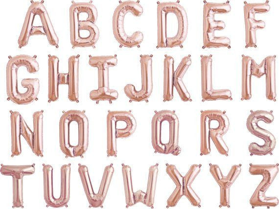 "Rose gold 16"" Letters and Numbers balloons"