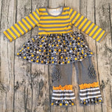 Gray, Yellow and Black Miss Match Two Piece with Hair bow