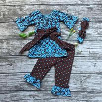 Girls Turquoise and Brown Peasant Shirt and Pants with Headband