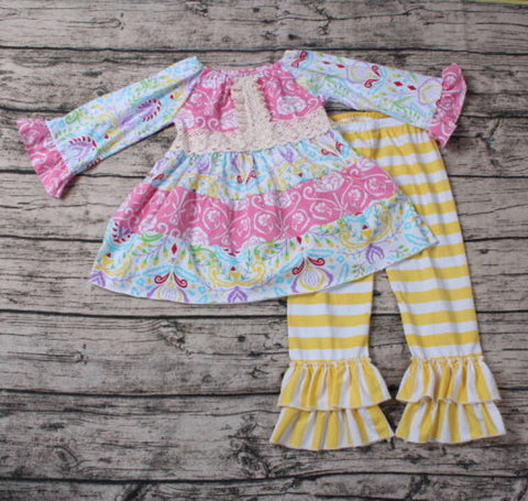 Grace with Yellow Striped Pants Two Piece with Headband