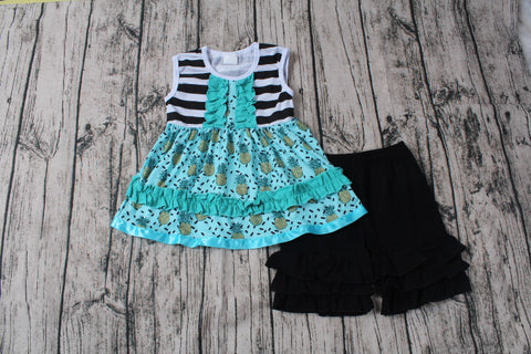Teal and Black Short Set with Bow