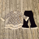 Black and Cream Long Sleeve Pant Set with Hair Bow