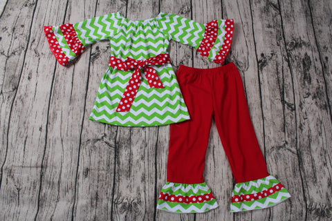Green Chevron Christmas Two Piece Outfit includes Hair Bow