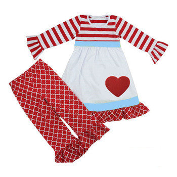 Heart of Joy Two Piece Outfit with Hair Bow