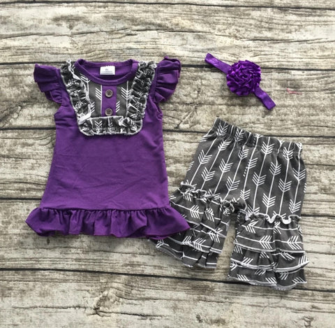 Gray and Purple Short Set with Hair bow
