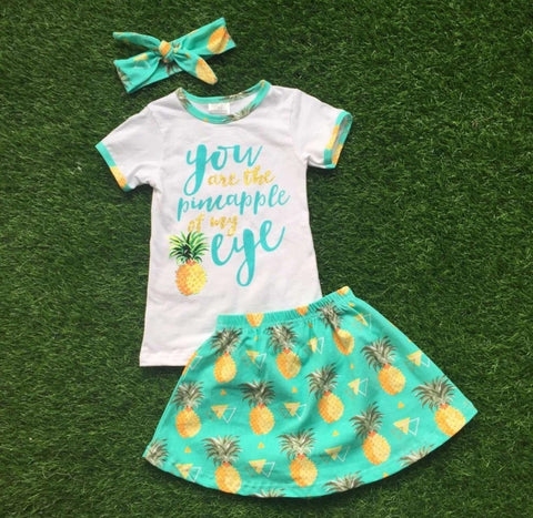 Pineapple of my Eye Skirt Set with Hair bow
