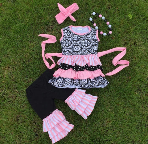 Black and Pink Ruffle Two Piece Outfit with Headband and Necklace