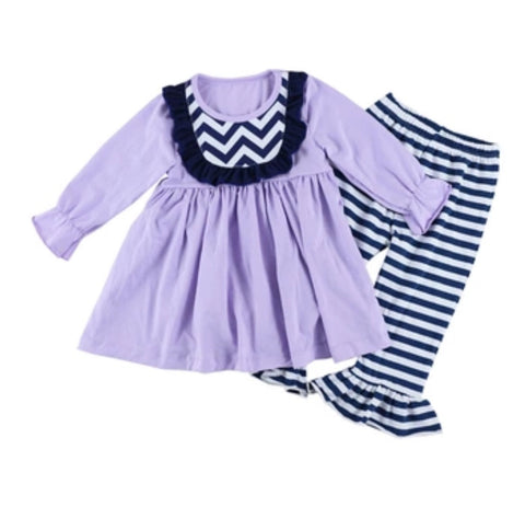 Striped Lavendar and Navy Two Piece Outfit with Bow