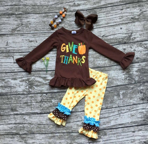 Give Thanks Yellow Polka Dot with Bow and Necklace