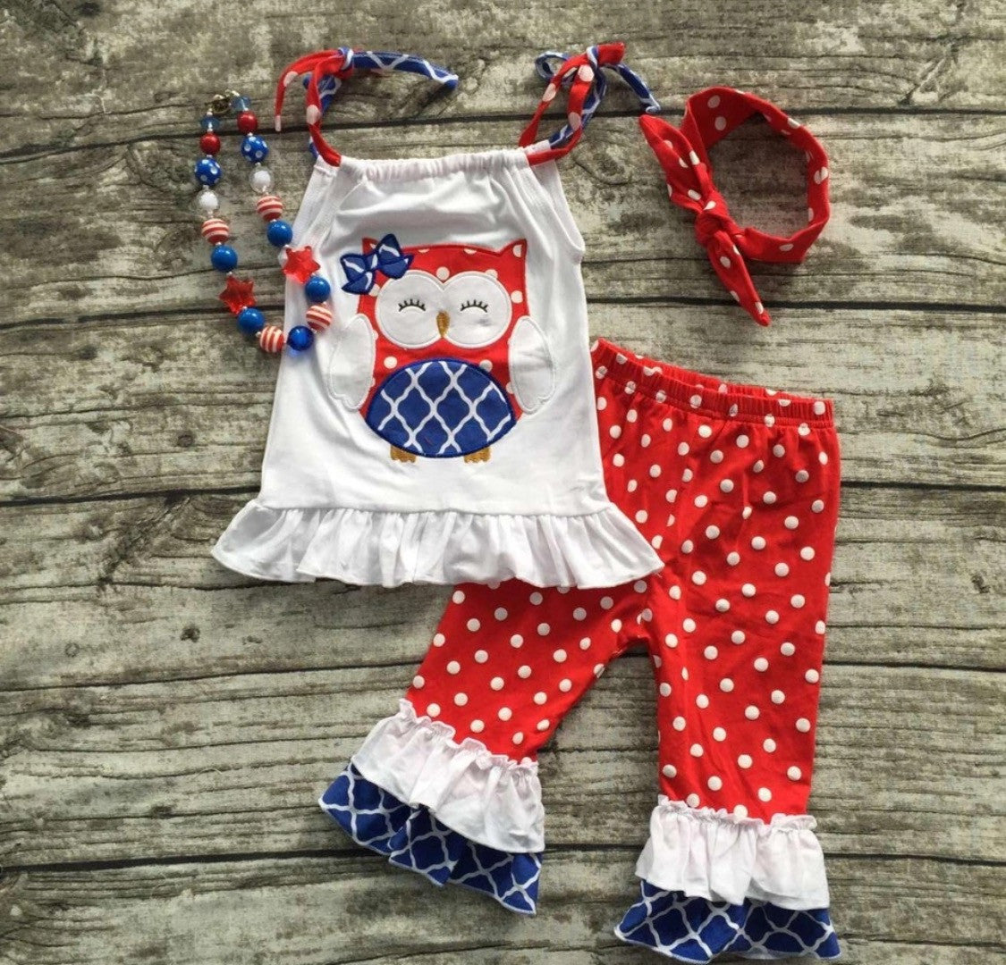 Liberty Owl Two Piece Capri Set with Headband and Necklace