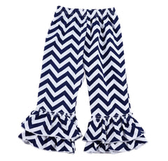 Chevron Navy and White Ruffle Pants