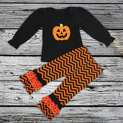 Black and Orange Pumpkin Two Piece Outfit with Bow