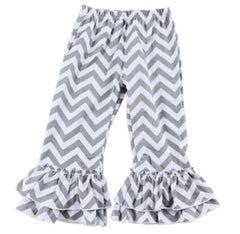 Chevron Gray Ruffle Pants