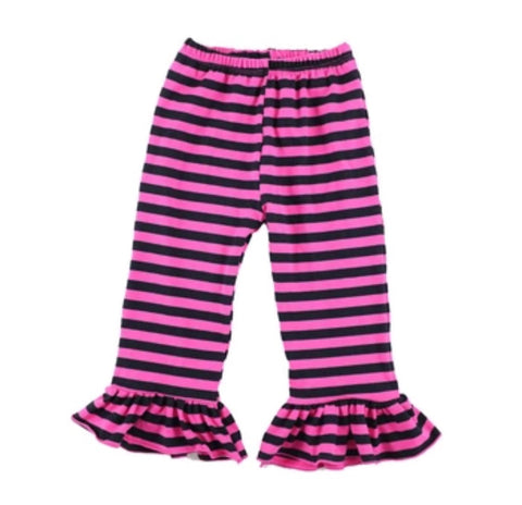 Striped Pink and Black Ruffle Pants