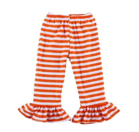 Striped Orange and White Ruffle Pants