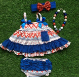 Baby Bunz White, Red and Blue Aztec with Headband