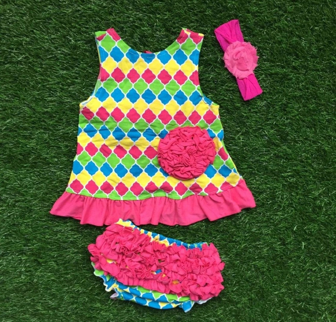 Baby Bunz Tank Diamond Multi Color with Headband