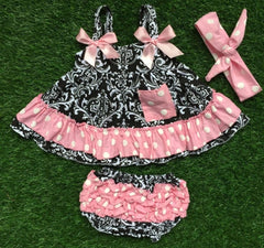 Baby Bunz Black and Pink Toile with Headband