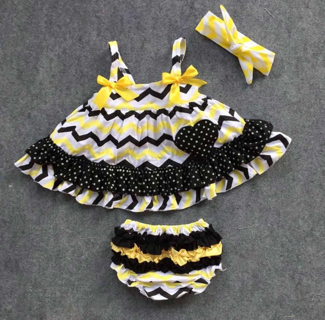 Baby Bunz Black and Yellow with Headband