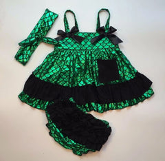 Baby Bunz Green and Black Mermaid with Headband