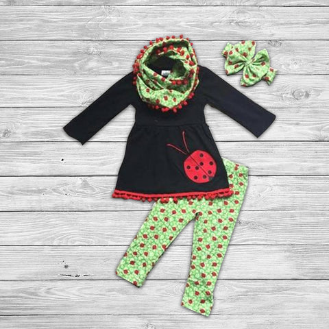 Little Lady Bug Pant Set with Infinity Scarf
