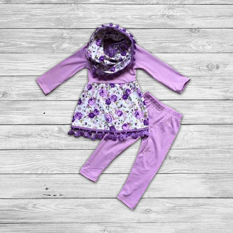 Purple Floral Pant Set with Infinity Scarf