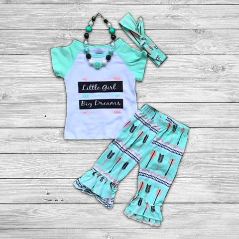 Little Girl Big Dreams Pant Set with Accessories