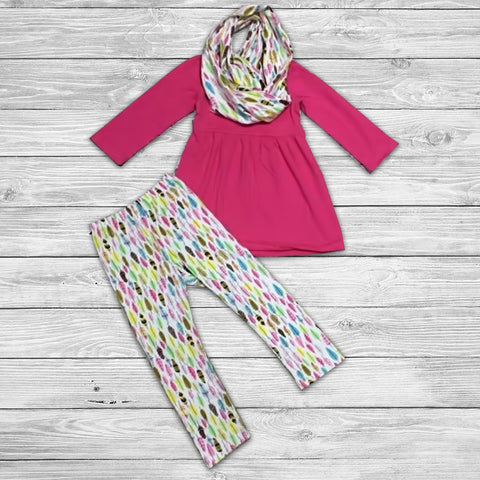 Feathers Pant Set with Infinity Scarf
