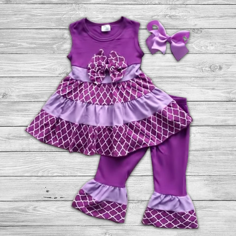 Shade of Purple Pant Set with Bow