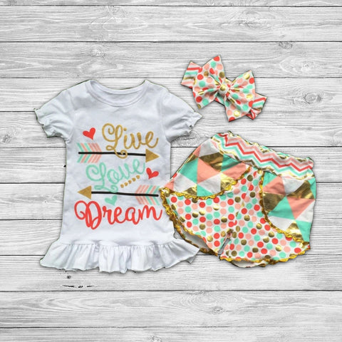 Live Your Dream Short Set with Bow