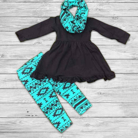 Aztec Teal Pant Set with Infinity Scarf