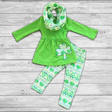 St. Patty Shamrock Pant Set with Infinity Scarf