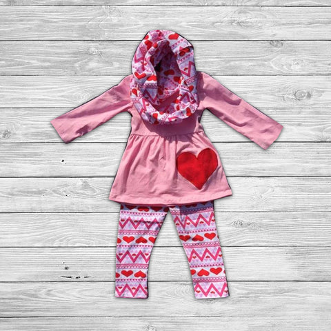 Hearts of my Valentine Pant Set with Infinity Scarf