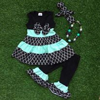 Girls Mint and Green Two Piece Set with Necklace and Headband